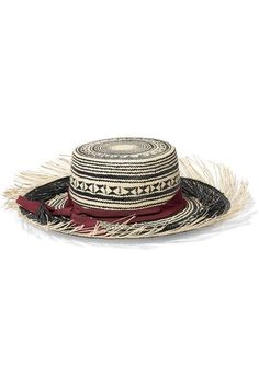 Sand and black toquilla straw, burgundy grosgrain 100% toquilla straw Spot clean Imported
