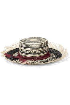 Sensi Studio - Colombia Frayed Toquilla Straw Panama Hat - Black - S