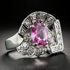 1.87 Carat Pink Sapphire, Platinum and Diamond Art Deco Ring by shauna