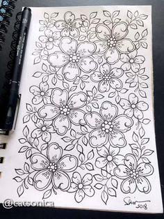 #flower #floral #sakura #cherryblossom #coloring #coloringbook #pattern #design #doodle