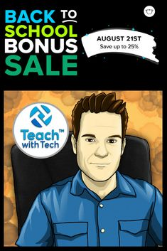 Back To School One Day Bonus Sale - Date: August 21st. Save 25% on all products in my store. Use Code: BTSBONUS18 Teaching Technology, Schools First, Teacher Pay Teachers, Back To School, Classroom, Coding, Education, 21st, Store