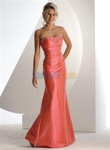 Dazzling Salmon Taffeta Beaded Mermaid 2012 Prom Dress