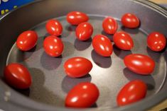 to later! De-stem tomatoes. Remove the stems (unless you have reason to keep them on Cherry Tomato Salsa, Cherry Tomatoes, Can You Freeze Grapes, Frozen Grapes, Geek Stuff, Canning, Vegetables, Stems, Simple