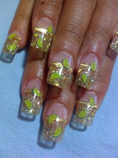 """Champagne"" Nails as i like to call them... With nice gold glitter and bright green kiwi, perfect colors! *fimo-nail-art*"