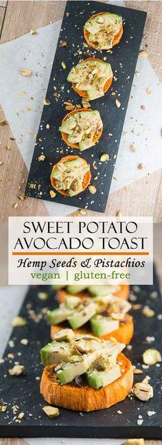 Sweet Potato Avocado Toast with Pistachios & Hemp Seeds vegan glutenfree healthy Vegan Appetizers, Vegan Snacks, Appetizer Recipes, Healthy Snacks, Snack Recipes, Cooking Recipes, Brunch Appetizers, Potato Recipes, Vegan Food