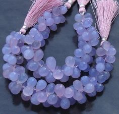 New Stock, 6 Inches Strand, LAVENDAR Blue Chalcedony Micro Faceted DROPS Briolettes, 10-12mm Long size,GORGEOUS.