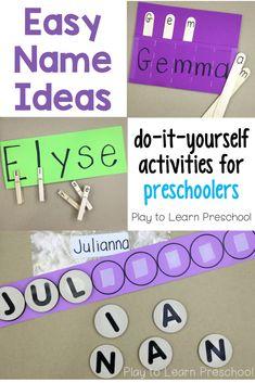 These simple, homemade name activities are great to help preschoolers learn to spell their names. Preschoolers will enjoy learning to recognize the letters in their names with these hands-on activities. classroom Easy Name Activities for Preschoolers Preschool Name Recognition, Name Activities Preschool, Preschool Learning Activities, Preschool Lesson Plans, Preschool Curriculum, Alphabet Activities, Classroom Activities, Educational Activities, Family Activities