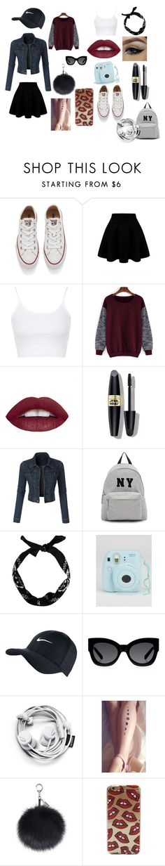 """""""Summer date"""" by mwiza900 ❤ liked on Polyvore featuring Converse, Topshop, Max Factor, LE3NO, Joshua's, New Look, NIKE and Karen Walker"""