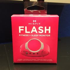 MisFit Flash Fitness + Sleep Tracker Make fitness part of your normal routine with this sporty activity tracker. Wear it anywhere or clip it to your clothing for real-time tracking of steps, distance, calories burned and sleep quality. Compete with friends and set goals with the free mobile app, or simply check your stats with the halo display of 12 LED lights. Brand new in its box , never been opened and won't open to show since the box is sealed . Misfit Accessories Watches