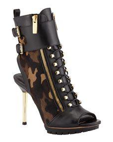 Michael Kors Teagan Camouflage Peep-Toe Boot ♡