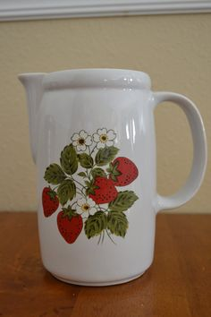 "McCoy Strawberry Vintage Pitcher, 7"" tall. $16.00 at MaggieMagpieVintage on etsy, 2/13/16"