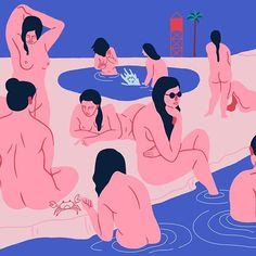 'Bathers' crop. Maybe I'll draw someone with their clothes on soon. • #contemporaryart #illustration #graphicart #graphic #creative #nude #digitalart #pink #blue #arts #digital #instaart #illustrationartists