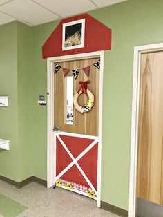 This easy classroom barn door post contains affiliate links for your convenience. My most recently room mom duty was to decorate my son's kindergarten classroom door to look like a barn. I searched Kindergarten Classroom Door, Preschool Door, Toddler Classroom, Preschool Activities, Farm Classroom Decorations, Classroom Themes, Farm Crafts, Class Decoration, Farm Animals