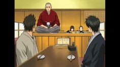 "Gintama Humor: Kondou oders ""Ika"" from a sushi restaurant. Somebody named ""IKAzo Sandaime"" comes up on the conveyor as his order! ROFL!!!"
