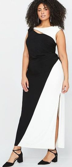 Plus Size Black And White Maxi. This is a color block black and white maxi dress that fits plus sizes  12 to 26. Love this dress