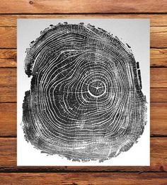 Black Locust II Tree Print Hand-pulled wood slice print