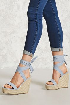 A pair of faux suede espadrilles with a braided wedge heel, a self-tying ankle wrap, and an open toe. A pair of faux suede espadrilles with a braided wedge heel, a self-tying ankle wrap, and an open toe. Dream Shoes, Crazy Shoes, New Shoes, Pretty Shoes, Cute Shoes, Me Too Shoes, Beautiful Shoes, Summer Shoes, Casual Shoes