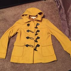 Yellow peacoat Toggled design in front with zipper as well. Two deep pockets. Will need to be dry cleaned. New York & Company Jackets & Coats Pea Coats