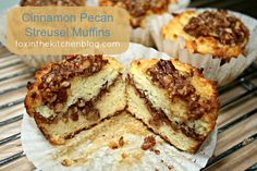Cinnamon Pecan Streusel Muffins ~ Light and fluffy, reminiscent of a cinnamon coffee cake. Perfect for a mid-day coffee (or tea) Cinnamon Pecan Streusel Muffins ~ Light and fluffy, reminiscent of a cinnamon coffee cake. Paleo Sweets, Paleo Dessert, Healthy Desserts, Gluten Free Muffins, Gluten Free Baking, Cinnamon Pecans, Cinnamon Coffee, Fun Baking Recipes, Flour Recipes