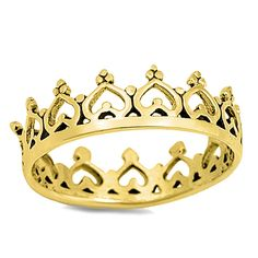 Yellow Gold Hearts Crown Sterling Silver Band Ring Size 4-10 #Unbranded #CrownRing