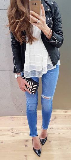 #spring #outfits Black Leather Jacket + White Lace Top + Ripped Skinny Jeans
