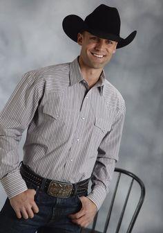 Roper® Mens Grey Striped Long Sleeve Snap Western Shirt