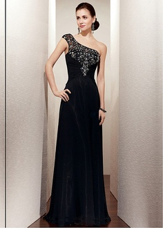 Stylish Chiffon A-line One Shoulder Neckline Full Length Black Mother of the Bride Dress