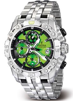 Green Festina Men's Sports Chrono Watch - Commissioned for the Tour De France but perfect for any sports enthusiast. Green Festina Men's Sports Chrono Watch - Commissioned for the Tour De France but perfect for any sports enthusiast. Dream Watches, Fine Watches, Sport Watches, Luxury Watches, Amazing Watches, Beautiful Watches, Cool Watches, Watches For Men, Patek Philippe