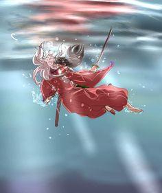 InuYasha & Kagome in the Water Anime Love, All Anime, Anime Guys, Manga Anime, Anime Art, Inuyasha Fan Art, Inuyasha And Sesshomaru, Kagome And Inuyasha, Miroku