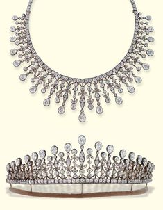 CARTIER ANTIQUE DIAMOND NECKLACE/TIARA  Designed as a graduated fringe of pear-shaped diamonds suspended from knife-edge surmounts of foliate design with diamond collet detail to the old-cut diamond line neckchain, with tiara fittings and screwdriver, mounted in silver and gold, circa 1890, 36.1 cm. long, in velvet fitted case  Signed S. Cartier