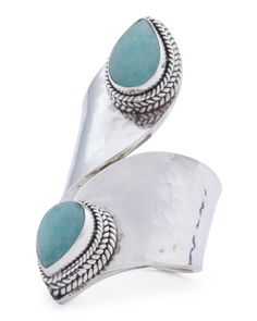Sterling Silver Amazonite Bypass Knuckle Ring