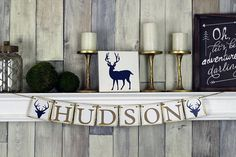 This woodland themed rustic banner is the perfect baby name sign for a rustic baby shower, woodland nursery decor, or as woodland birthday Rustic Boy Names, Rustic Baby, Name Wall Art, Nursery Wall Art, Baby Name Signs, Baby Names, Woodland Nursery Decor, Name Banners, Baby Shower Decorations