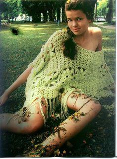Poncho Flores Crochet Patron - Patrones Crochet