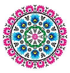 Hungarian Embroidery Patterns Polish traditional folk pattern View Large Clip Art Graphic - Decorative floral vector patters set - paper catouts style isolated on white Polish Embroidery, Hungarian Embroidery, Folk Embroidery, Learn Embroidery, Embroidery Patterns, Machine Embroidery, Indian Embroidery, Paper Embroidery, Embroidery Stitches