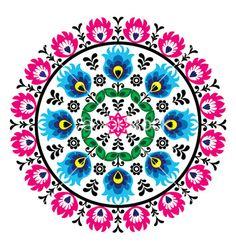 Polish traditional folk pattern in cirle vector 1764264 - by RedKoala on VectorStock®
