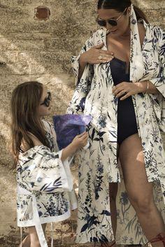 Lisa & Bobby in matching silk, printed kimono robes. #hermionedepaula #motherdaughter #lisamcallister #silkkimono #matchingrobes #childrenswear #blueprint #wildflowers Bridal Wedding Dresses, Bridesmaid Dresses, Bridal Lingerie, Silk Kimono, Hermione, Wildflowers, Mother Of The Bride, Dress Outfits, Lisa