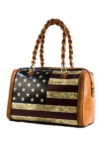 US Flag Top Handle Satchel Bag
