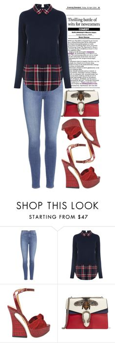 """""""Navy + Red"""" by cherieaustin ❤ liked on Polyvore featuring Paige Denim, Oasis, Charlotte Olympia and Gucci"""