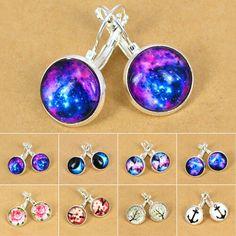 SILVER Pink Blue GALAXY Earrings Drop Dangle Hook Bead SPACE Universe CELESTIAL