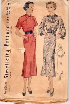 Vintage Sewing Pattern Ladies 1930's Dress Simplicity by Mrsdepew
