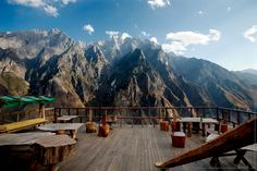 Halfway Guesthouse terrace in the Tiger Leaping Gorge, China.