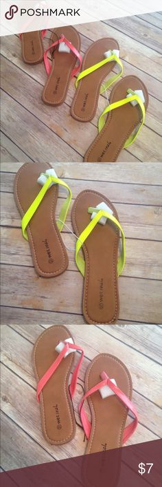 2 for 1 Women's Wet Seal Sandals Wet Seal Women's Flip Flops. Coral and Neon Yellow Sandals. Wet Seal Size 10. Both pairs NWT. Bought for $7.50 each. Selling both pairs for $7. Wet Seal Shoes Sandals