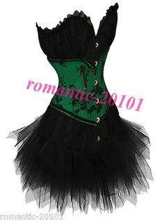 Halloween Corset Dress Top Bustiers TUTU Lingerie 827 + 7008 | eBay