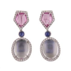 18KWG MOONSTONE, DIAMOND, SAPPHIRE AND PINK TOURMALINE EARRINGS WITH 13.86CTW OF CABOCHON MOONSTONES, .76CTW OF DIAMONDS GH/VS, .60CTW OF SAPPHIRES, 4.01CTW OF PINK TOURMALINES. DESIGNED BY SPARK.