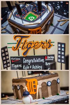 Detroit Tigers Groom Cake Replica of Comerica Park!  Courtesy of Cakes by Renee, in Shelby Township, MI.