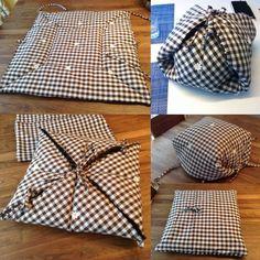 畳んでクッションカバーの中にいれて普通のクッションのフリができる鍋布団 。 上で纏める かぶせるか自在に。見えないけど小さい四角いクッション付き。#potcozy #保温調理 #鍋帽子 #haybox