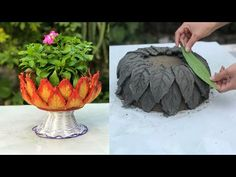 CEMENT IDEAS VERY EASY - Simple and beautiful potted plants from the leaves - YouTube Cement Art, Concrete Crafts, Concrete Pots, Concrete Garden, Diy Cement Planters, Cement Flower Pots, Cement Leaves, Diy Water Fountain, Clay Pot Crafts