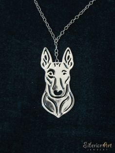 Bull terrier - silver, dog jewelry - pendant and necklace. $75.00, via Etsy.