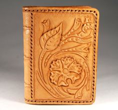 Leather cardholder. Carving leather. Beige floral by TiVergy