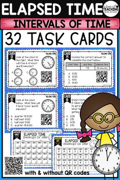 32 Elapsed Time Task Cards which include analog clocks, digital clocks, tables, charts, number lines, and word problems to help your students review and practice finding intervals of time. Perfect for review, Scoot game, math center, assessment tool, or test prep!   time to the half hour time to the quarter hour time to the nearest minute time to the nearest half hour, quarter hour, and minute elapsed time time intervals in minutes word problems  This product is aligned to 3.MD.1 and 4.MD.2.